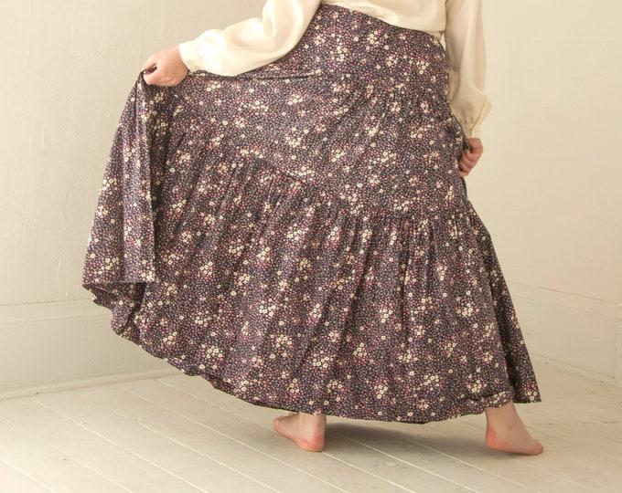 Vintage prairie maxi skirt, high waist cotton floral, navy pink white, Victorian style, L XL plus size 1970s boho