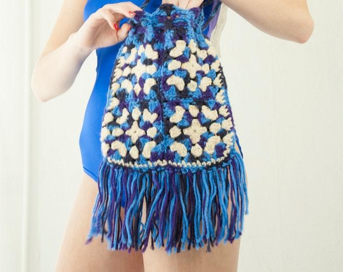 Vintage blue granny-square purse, purple fringe boho shoulder bag, crocheted white handmade drawstring pouch 1970s