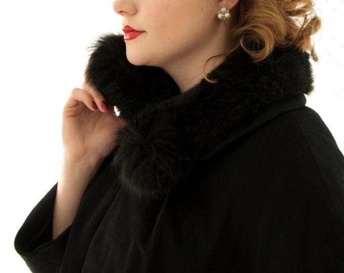 Vintage 1950s black wool swing coat, genuine fur collar, jacket, dolman sleeves, long pin-up formal winter overcoat L XL
