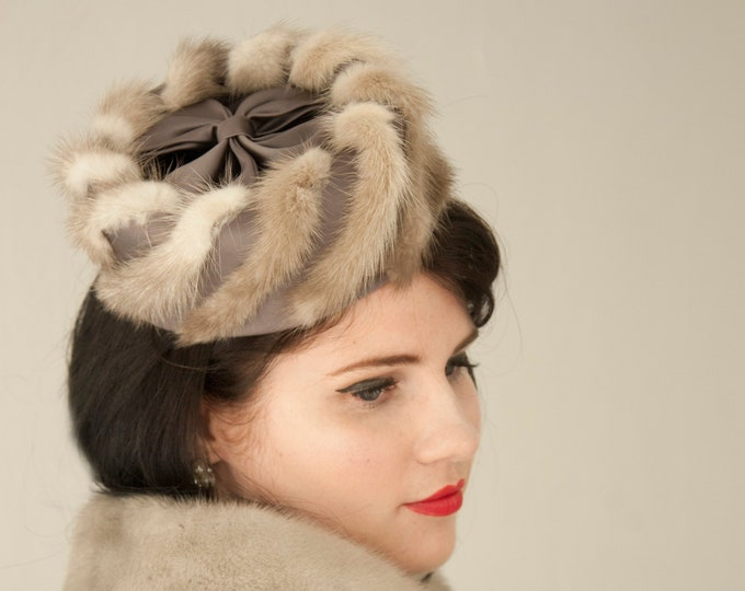 Vintage 1950s gray fur pillbox hat, silver shades of grey white genuine striped satin bow halo formal chic pin-up headpiece