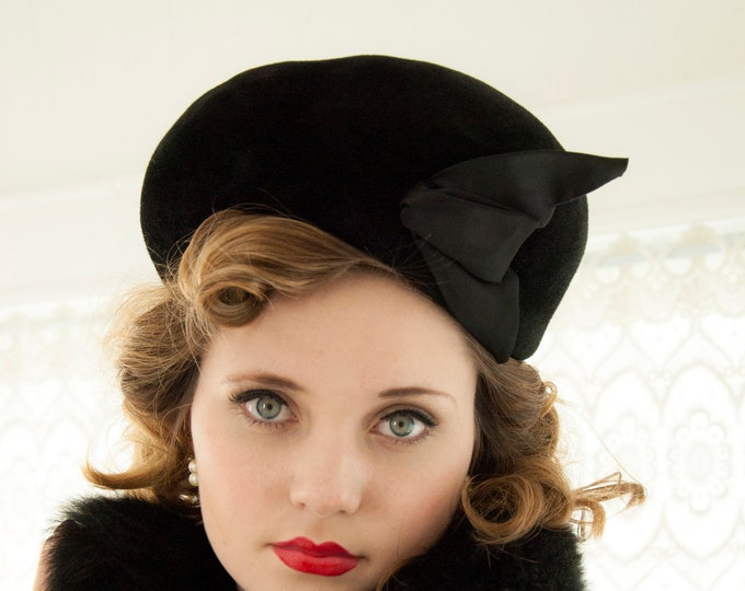 Vintage 1950s black cossack hat, wool fur velvet satin bow, asymmetric tall large formal pin-up turban