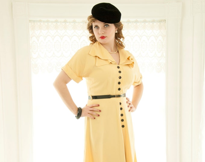 Vintage 1940s yellow dress, black buttons, short sleeve buttercup large portrait collar, spring summer midi, 1950s pin-up, L