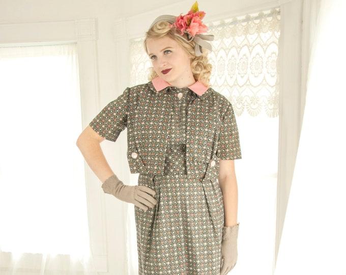 Vintage 1950s two-piece dress set, black pink floral shift midi, collar short sleeve bolero suit, cotton pin-up S