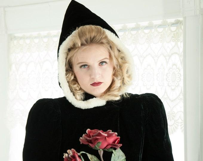 Vintage 1930s hooded black velvet coat, white fur hood, long duster opera formal Victorian 1940s swing jacket cloak XS S