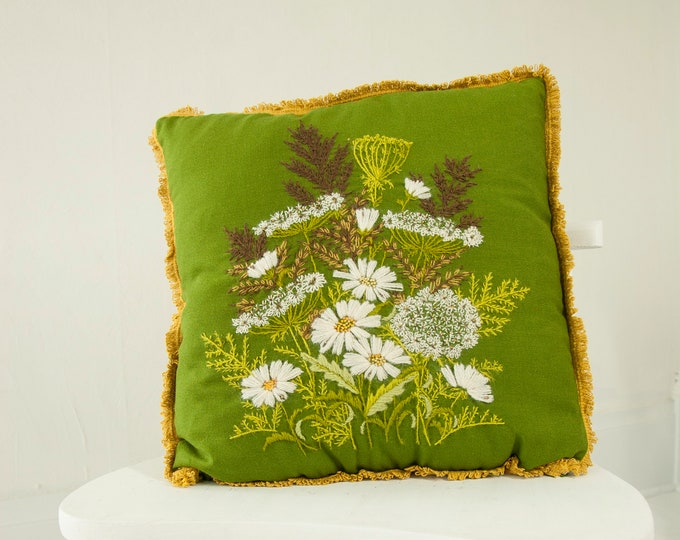 Vintage avocado green floral pillow, large embroidered beaded square throw accent white wool wild flowers weeds boho retro decor 1970s
