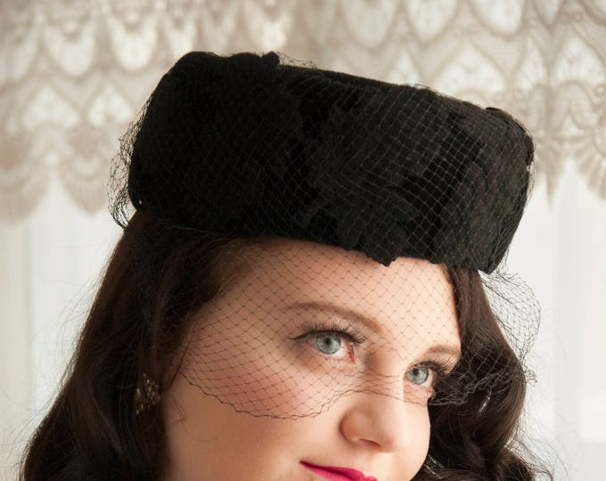 Vintage 1950s black pillbox hat, grape bunches leaves wool fur veil netting, pin-up formal