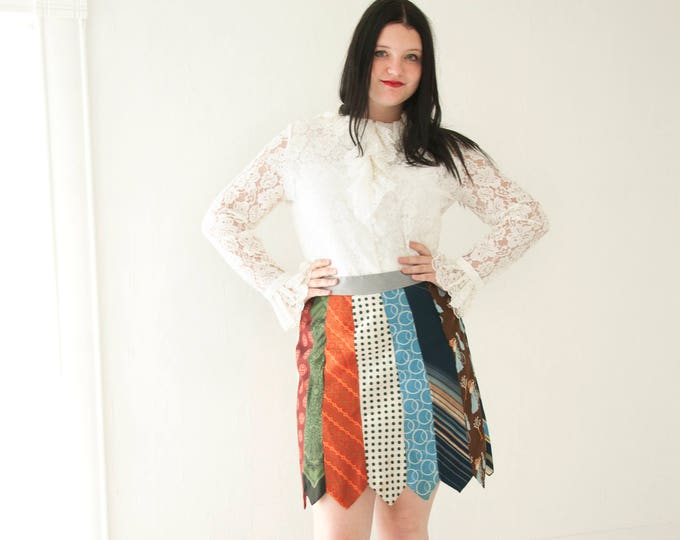 Vintage ties mini skirt, high waist upcycled patchwork stripes, L XL plus size