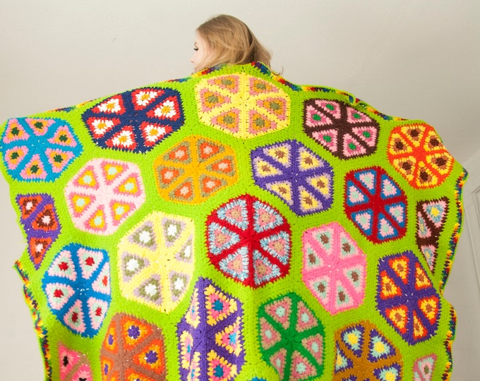 Vintage colorful hexagons afghan, wool granny square triangles, green rainbow circles geometric unique throw blanket bedspread, 1970s retro