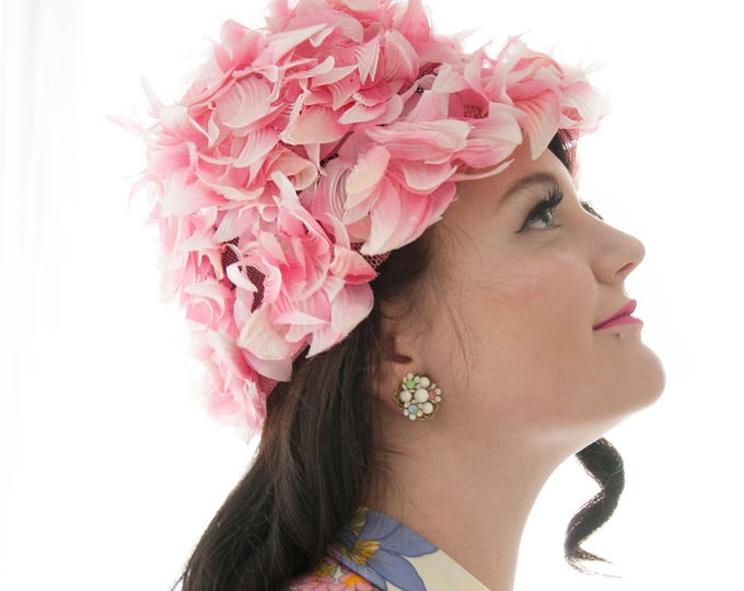 Vintage pink floral hat, flower petals, formal pin-up mid-century 1950s 1960s