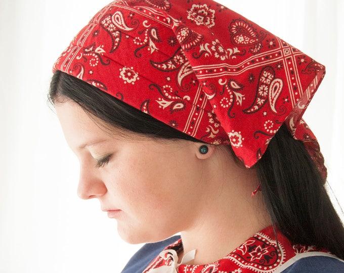 Vintage red bandana print head scarf, black white paisley, 1960s 1970s