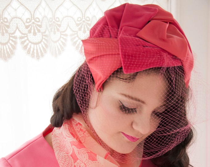 Vintage pink hat, 1950s pin-up formal headband headpiece, velvet satin netting veil