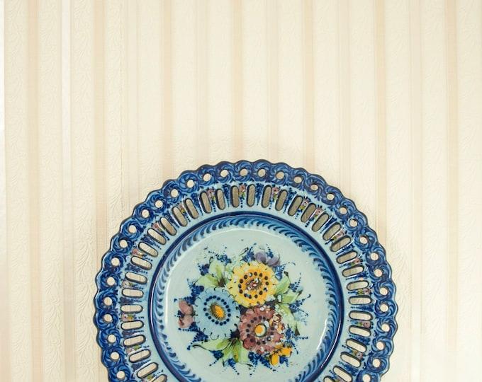"Vintage cobalt blue decorative plate, ceramic floral wall decor hanging, hand-painted flowers platter, Portugal 14"""