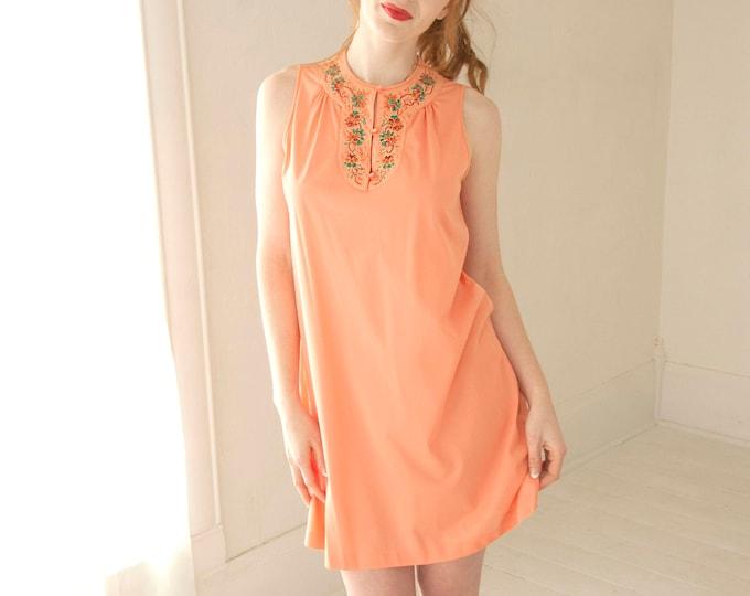 Vintage orange nightie dress, tangerine sleeveless nylon short green floral embroidered nightgown lingerie, 1960s 1970s S M