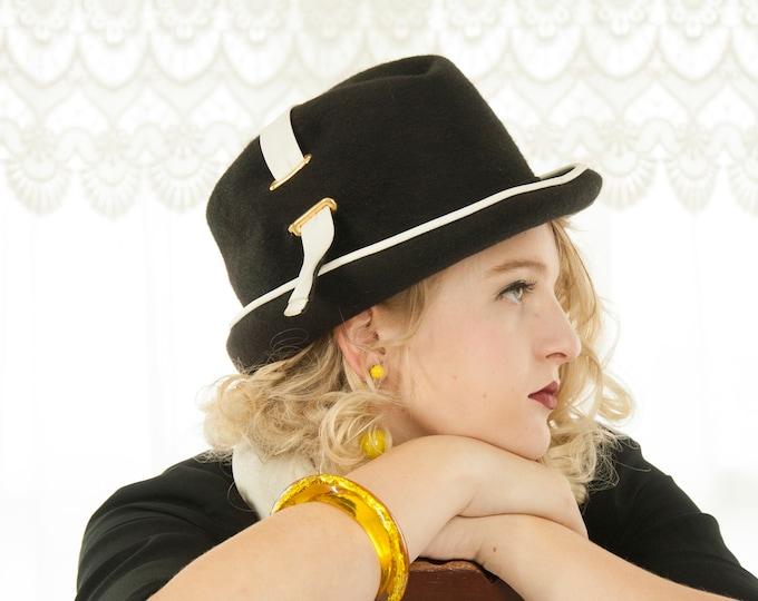 Vintage black fedora hat, white vinyl trilby, wool vagabond, ladies 1950s 1960s, high contrast, Mr. John pin-up mod