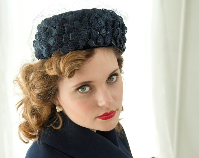 Vintage 1950s navy blue pillbox hat, woven raffia netting veil formal pin-up