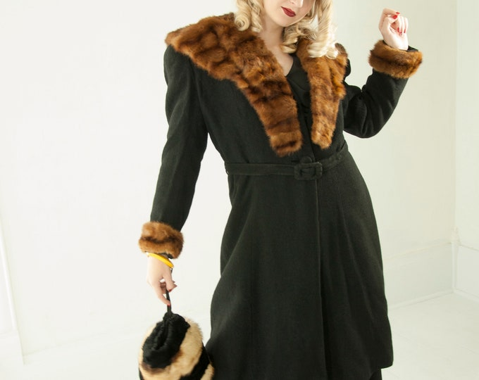 RESERVED 2 Vintage 1930s black wool coat, brown genuine mink fur collar cuffs, museum piece, princess puffed sleeve deco jacket S