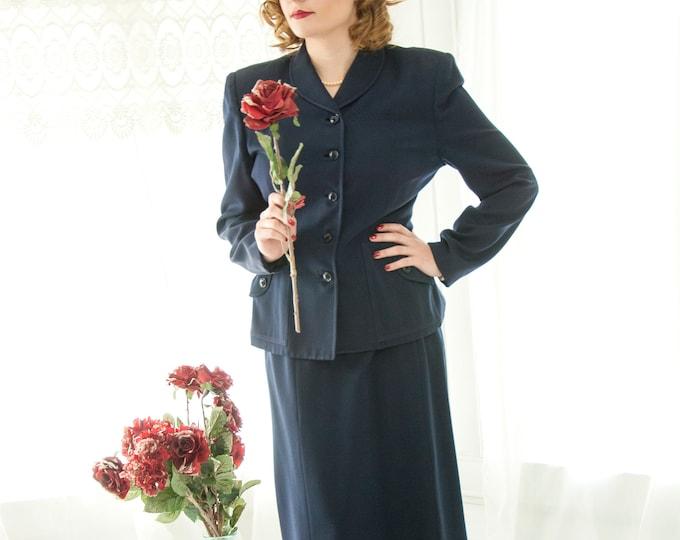 Vintage 1940s navy suit set, blue two-piece blazer, high waist midi pencil skirt, long sleeve rayon jacket, L