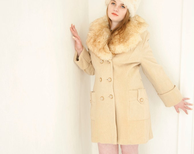 Vintage white wool pea coat, faux shearling collar, double breasted ivory princess jacket, boho retro 1970s M