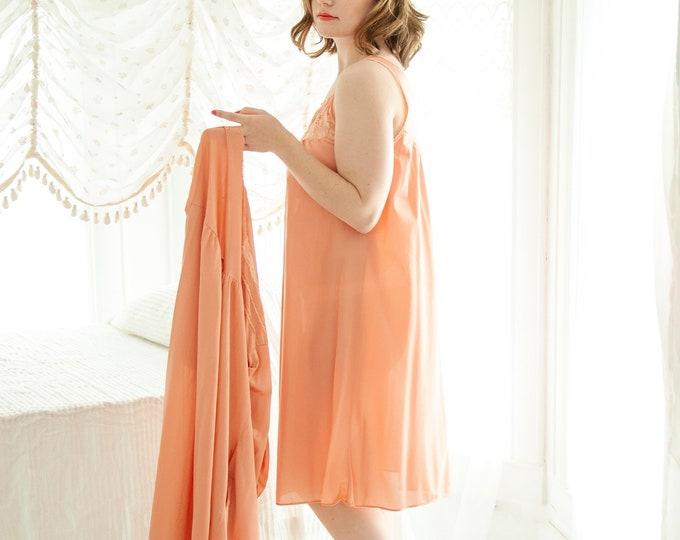 Vintage orange peignoir set, nightie dress robe, two-piece nylon lace cantaloupe melon pajamas, pin-up lingerie nightgown, L 1970s