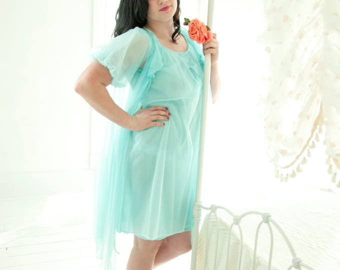 Vintage aqua peignoir set, teal turquoise sheer nightie, blue sexy nylon negligee, short puffed sleeve pin-up lingerie, L XL 1950s 1960s