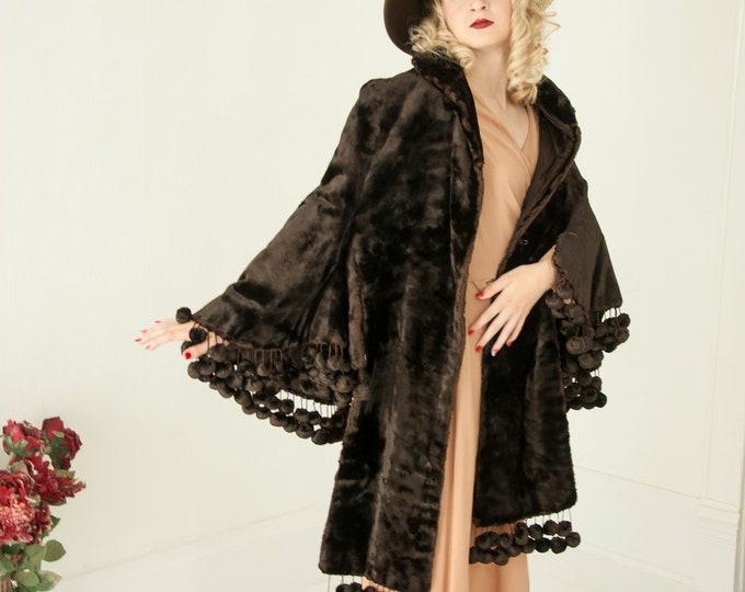 Victorian brown velvet cape, long dark silk fur pom-poms embellished, antique vintage art deco style formal capelet shawl coat, 1800s