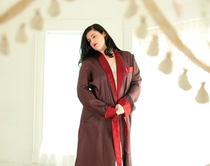 Vintage 1940s men's robe, burgundy red satin, purple brocade, long midi smoking house jacket, XL plus size