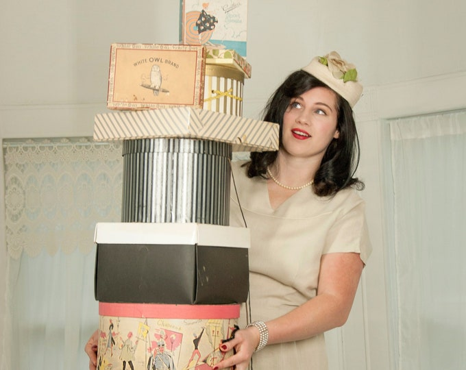 Vintage hat box collection, eight department store, candy, clothing, cigar gift boxes, paper board cardboard 1950s mid-century props