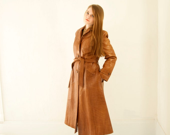 Vintage long leather jacket, genuine brown trench coat, boho retro 1970s M L deadstock NOS