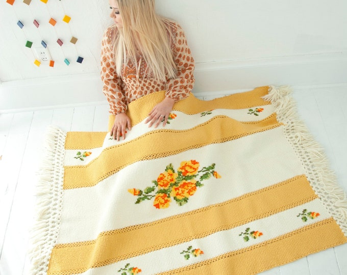Vintage yellow floral afghan, white striped throw blanket, cotton wool gold orange fringe, handmade accent lap retro home decor, 1970s