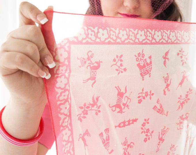 Vintage novelty print scarf, 1950s white pink sheer floral birds horses folk figures square nylon pin-up