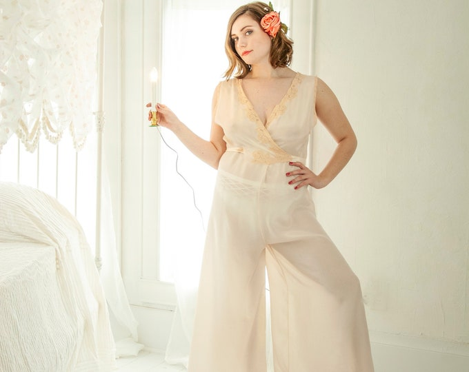 Vintage 1940s palazzo pants pajamas, cream peach one-piece nightie, wide-leg lace pin-up lingerie nightgown, long L rare