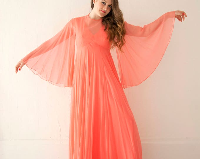 Vintage coral angel sleeve dress, sheer chiffon bell sleeves boho maxi gown, empire waist formal, orange pink 1960s 1970s, S