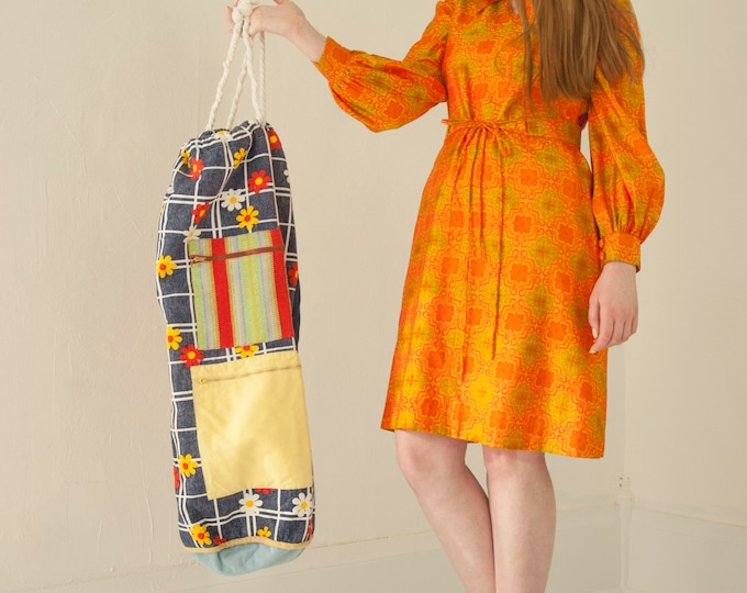 Vintage large retro tote bag, laundry clothing beach patchwork color block orange blue red floral zipped pouches, boho hobo