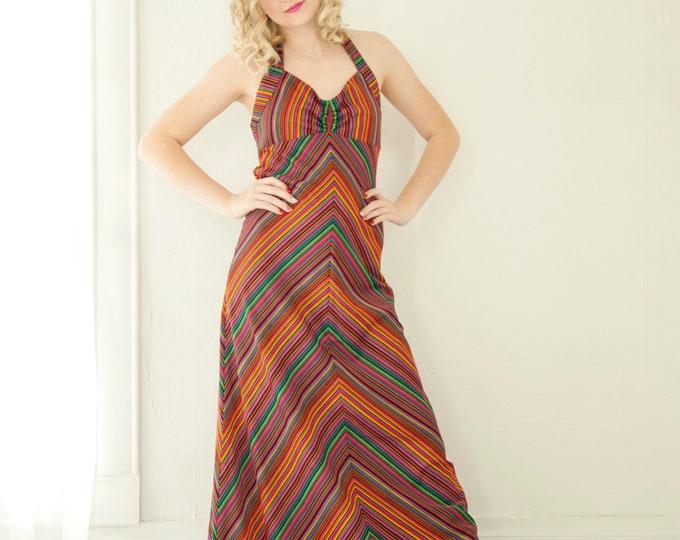 Vintage chevron halter maxi dress, sleeveless striped purple orange red, empire waist, colorful A-line summer 1970s boho retro S