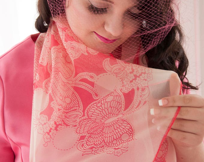 Vintage pink butterfly scarf, novelty print 1950s floral white sheer pin-up nylon gift for her