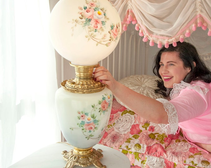 """Vintage """"Gone with the Wind"""" lamp, electric white glass hand-painted globe, pink floral roses three-way hurricane bedroom accent light"""