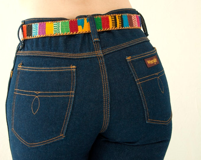 Vintage colorful belt, woven rainbow stripes, leather cotton boho retro tribal western 1970s, S 30