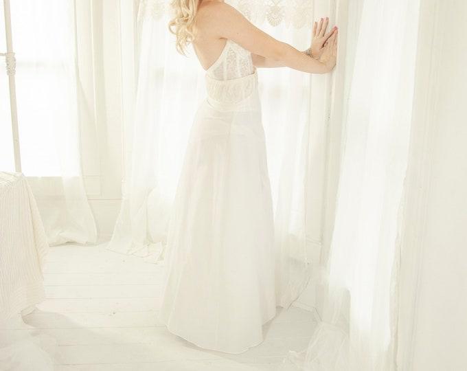 Vintage white crinoline, full long tulle skirt slip petticoat, prom formal bridal wedding dress gown lingerie, S M 1970s