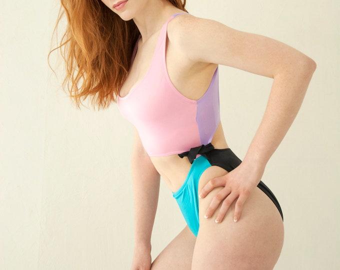 Vintage 1980s swimsuit, Spandex leotard athletic, French cut, high thigh waist, bikini one-piece, pastel pink blue black purple NOS