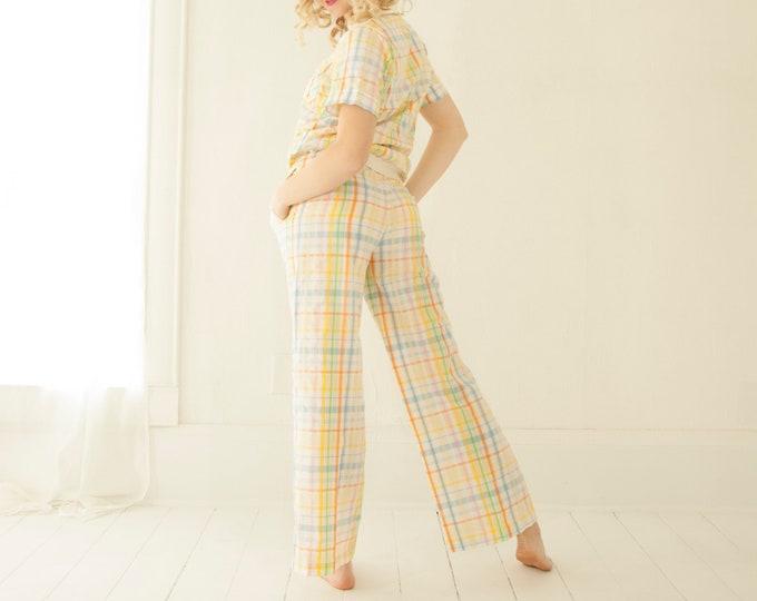 Vintage pastel plaid suit, high-waist pants top shirt set, pantsuit, white blue yellow short sleeves, golf summer Jantzen outfit 1970s retro