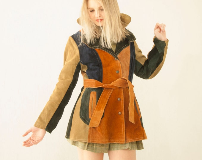 Vintage suede patchwork jacket, blue tan rust brown 1970s leather boho retro coat XS S petite