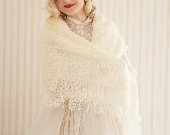 Vintage ivory boucle wrap, white fringed shawl, acrylic woven square triangle scarf receiving blanket 1950s