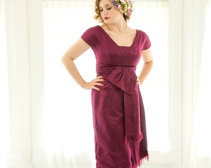 Vintage 1950s mulberry dress, silk short cap sleeve pink purple formal midi shift, fringe prom pin-up berry, M L