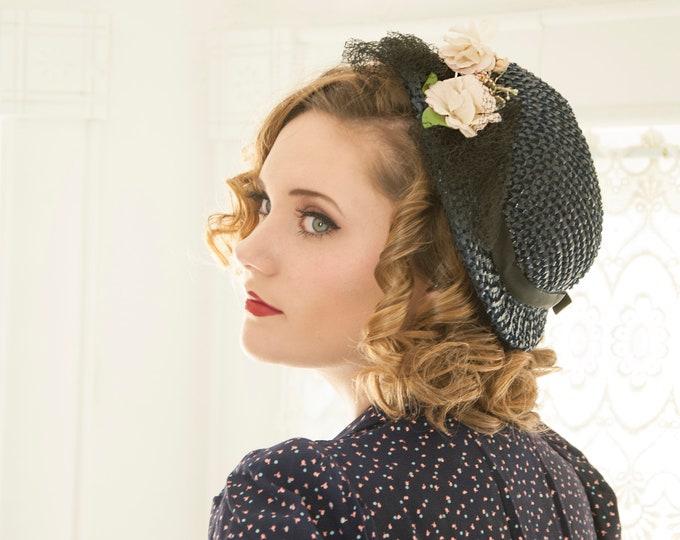 Vintage 1950s navy blue woven hat, white flowers, black netting veil, summer capulet calot juliet, floral formal