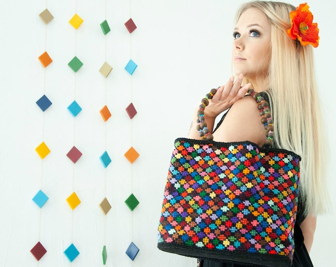 Vintage colorful handbag, stained glass geometric needlepoint purse, 1970s boho retro rainbow, wood beaded handle