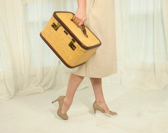 Vintage 1940s canvas train case, brown leather woven carry-on luggage small suitcase makeup travel brass, key mirror tray, red interior