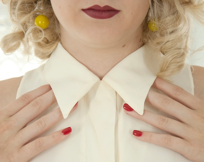 Vintage 1950s white dickie, collar bib undershirt, rayon organdy formal top blouse, mother-of-pearl buttons, pin-up XS S