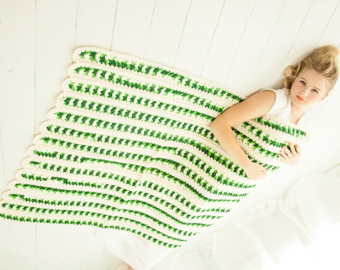 Vintage white green striped afghan, small lap throw baby accent blanket, handmade 1970s retro home decor gift