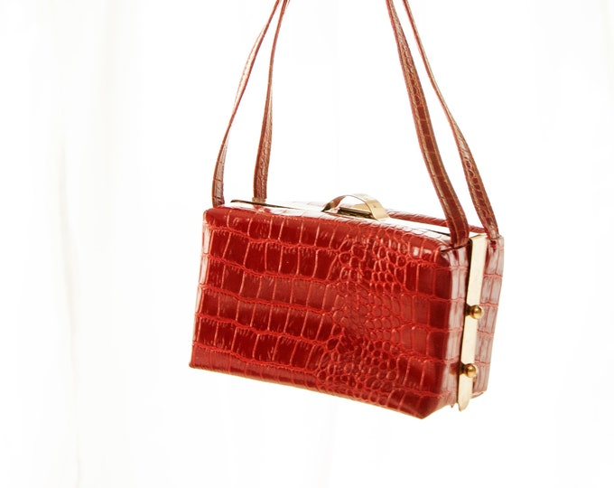 Vintage red box purse, vinyl faux crocodile alligator reptile patent leather, small brass gold 1950s pin-up 1960s mod