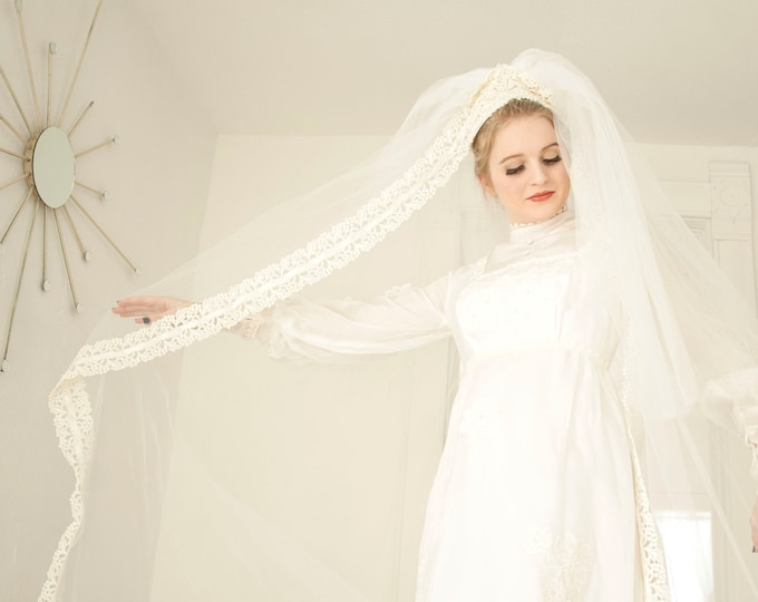 Vintage 1960s cathedral veil, tall long dramatic mod ivory white wedding lace headpiece long train bridal tulle mod